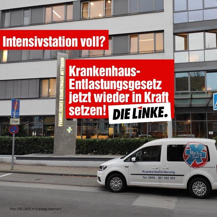 DIE LINKE im Kreistag Mettmann zur Vollbelegung des Evangelischen Krankenhaus Mettmann (EVK): Das Land muss handeln.