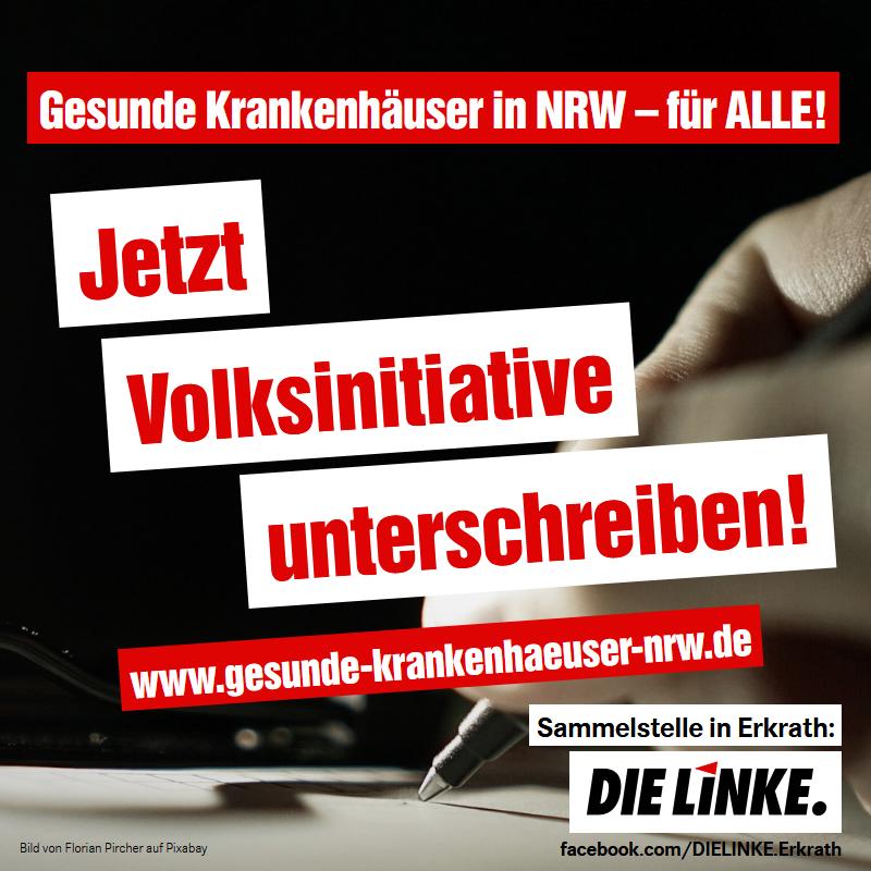 DIE LINKE ERkrath unterstützt die Volksinitiative Gesunde Krankenhäuser NRW - für Alle!