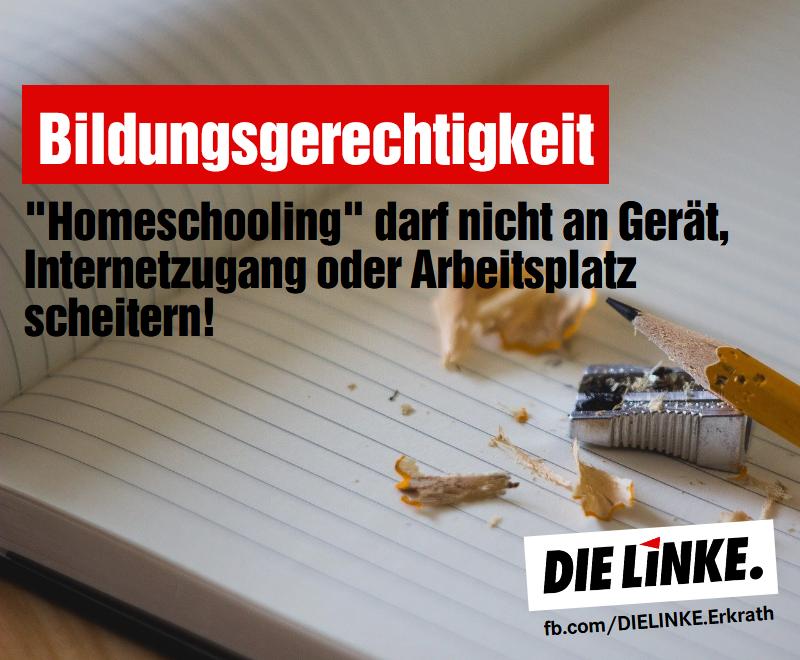 Bildungsgerechtigkeit. Holeschooling darf nicht a Gerät, Internetzugang oder Arbeitsplatz scheitern.